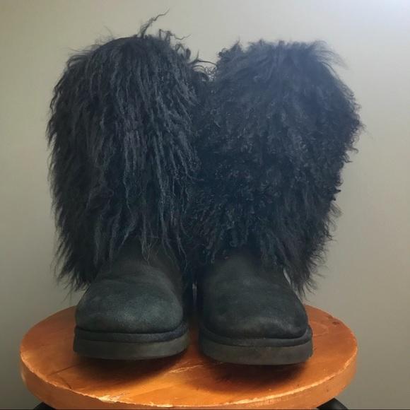 Ugg Mongolian Sheepskin Cuff Tall Black